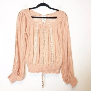 Free People Peach Embroidered Boho Top